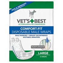 Vet's Best Comfort Fit Disposable Male Wrap 12ct