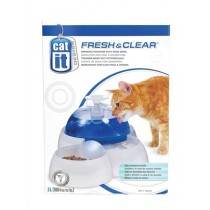 Fresh & Clear Drinking Fountain w/Food Bowl