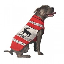 Chilly Dog Sweater - Red Nordic Reindeer