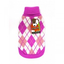 Doggie Q Argyle Sweater - Pink
